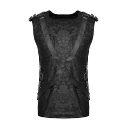 Punk Rave T 464 Spine Harness Aged Leather Look Black Cyber Goth Tank Top