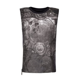 Punk Rave T 466 Gears Mechanism Digital Print Black Steampunk Tank Top
