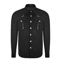 Punk Rave Oy 875 Zipper Pockets Black Long Sleeve Industrial Goth Shirt