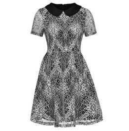 Goth Women's Turn Down Collar Lace Dress