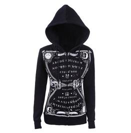 Tiberio Dark Side Ouija Board Print Symbols Black Occult Nu Goth Hoodie