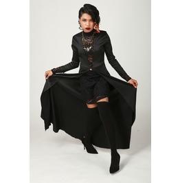 Hell Raiser Black Satin Dress With Lace Mini