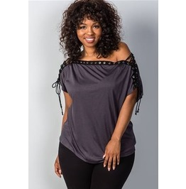Charcoal Gray Plus Size Lace Up Grommet Top