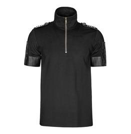 Punk Rave T 459 Galloon Shoulder Tab Zipper Black Military Goth Polo Top