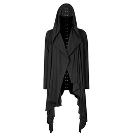 Punk Rave Y 751 Dorsal Spine Back Laced Black Cotton Nu Goth Open Hoodie