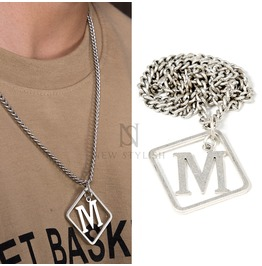 Square M Charm Chain Necklace 82