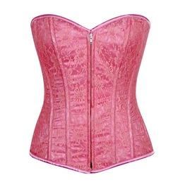 Lavish Pastel Pink Lace Front Zipper Corset