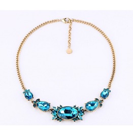 Blue Artificial Crystal Rhinestone Bling Necklace
