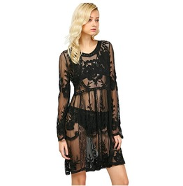 Sexy Crochet Lace Long Sleeves Beach Wear