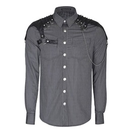 Punk Rave Y 819 Chain Harness Black Pinstripe Long Sleeve Steampunk Shirt