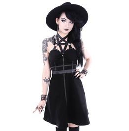 Restyle Pentagram Party Neckline Black Synthetic Leather Trim Nu Goth Dress