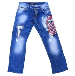 Used Authetic Cipo & Baxx Model C 618 Diamante Destroyed Star Jeans W36 L32