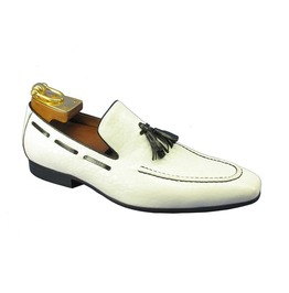 Handmade Men White Leather Tassels Shoes Moccasins Loafer Party Shoes