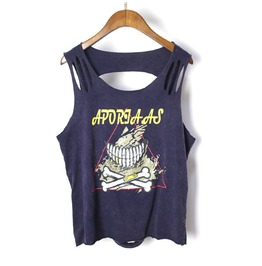 Women's Fashion Printed Distressed Backless Sleeveless T Shirt