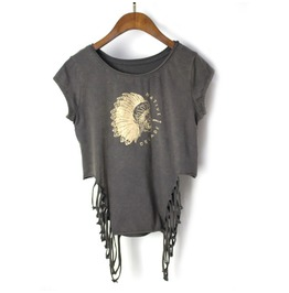 Women's Vintage Printed Cutout Slim Fitted Sleeveless T Shirt