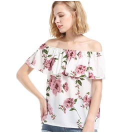 Women's Floral Printed Falbala Off Shoulder T Shirt