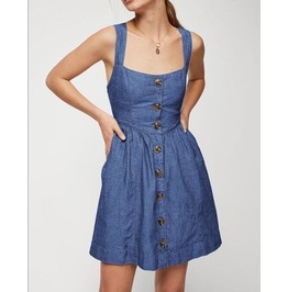 Women's Sexy Backless Buttons Flare Dress