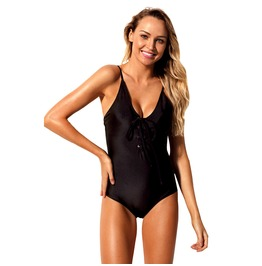 Women's Sexy V Neck Lace Up One Piece Swimsuit