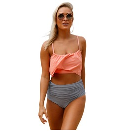 Women's Thin Shoulder Straps Ruched High Waisted Bikini Swimsuit