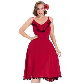 Voodoo Vixen Veronica Red Flared Summer Dress