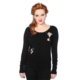Banned Cocktail Embroidery Black Knitted Rockabilly Vintage Pin Up Cardigan