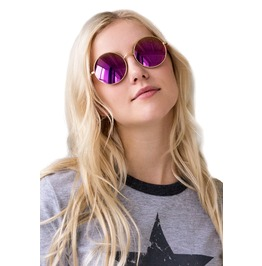 Sunglasses Round Mirror Reflective Pink Rose Purple Retro Kawaii Festival