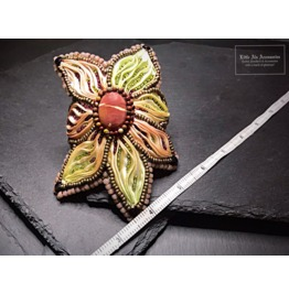 Embroidered Flower Cuff Bracelet With Mookaite & Garnet, Silk Beaded Cuff