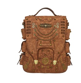 Steampunk Backpack Women Men Leather Vintage Retro Rock Fashion