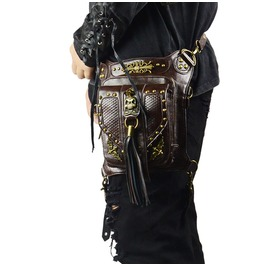 New Men Skull Gothic Steampunk Messenger Shoulder Handbag Waist Bag