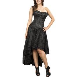 Steampunk Black Asymmetrical Lace Up Dress