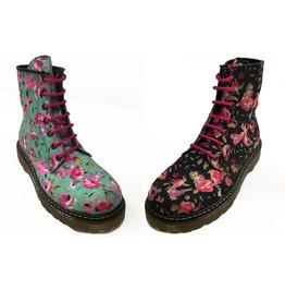 U.P.I.A.B.G. Black Or Aqua Flower Print Unisex Combat Boots Dr Flores