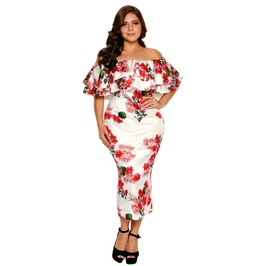 Off Shoulder Floral Layered Ruffle Bodycon Plus Size Dress