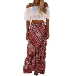 Boho Women's Wrap Around Long Maxi Skirt