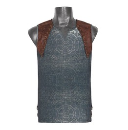 Punk Rave T 387 Gears Print Gray Brown Synthetic Leather Steampunk Tank Top