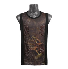Punk Rave T 352 Mechanism Gears Front Print Black Steampunk Tank Top