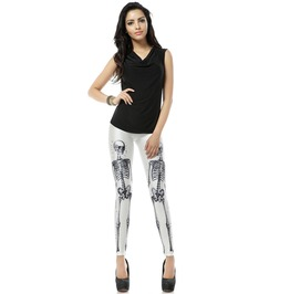Gothic Skull Print Punk Style Leggings Pants