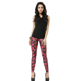 Sexy Red Lip Print Black Leggings Pants
