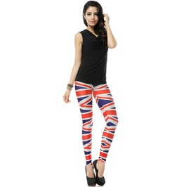 Red Blue Irregular Print Leggings Pants