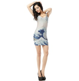 Beautiful Wave Print White Bodycon Dress Tank Tops