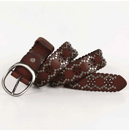 Women'S Vintage Hollow Flower Faux Leather Belts With Needle Buckle