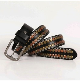 Punk Rock Floral Circular Rivet Deco Faux Leather Belts