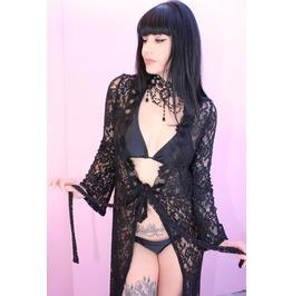Midnight Lover Black Lace Kimono Duster