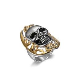 Gold Silver Skull Ring