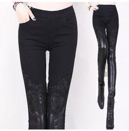 Punk floral lace crochet faux leather womens pants leggings leggings