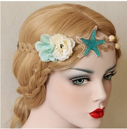 Fashion Vintage Starfish Flower Seashells Hairband
