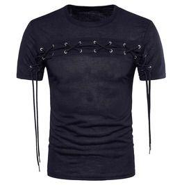 Mens crisscross grommet slim fitted cotton t shirt t shirts