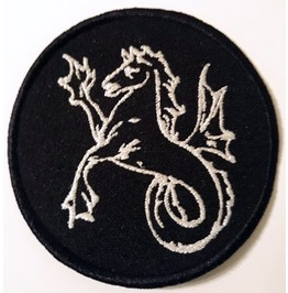 Alchemical Symbol Of Horse Fish Embroidered Patch, 3,2 X 3,2 Inch