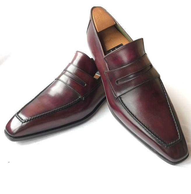 2a54dbef9e73d Handmade Men Dark Burgundy Leather Shoes, Formal Leather Shoes For