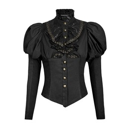 Punk Rave Y 681 Puffed Shoulder Black Long Sleeve Victorian Steampunk Shirt