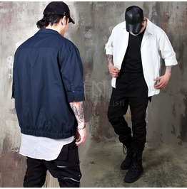 Banded Hem Short Sleeves Shirts 278